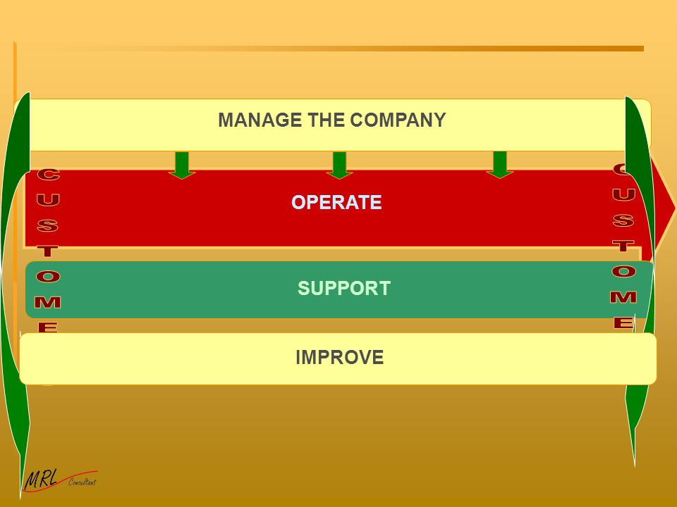 MANAGE THE COMPANY OPERATE CUSTOMERS CUSTOMERS SUPPORT IMPROVE