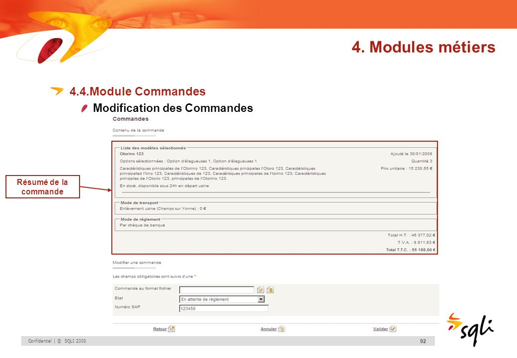 4. Modules métiers 4.4.Module Commandes Modification des Commandes