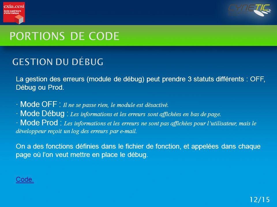 Portions de code Gestion du débug