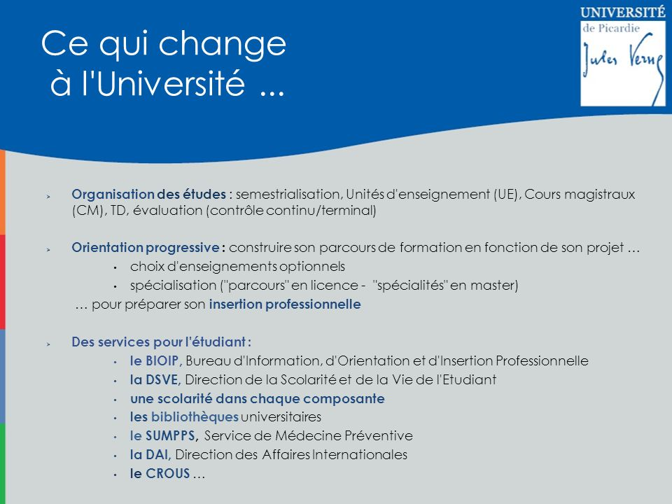Ce qui change à l Université ...