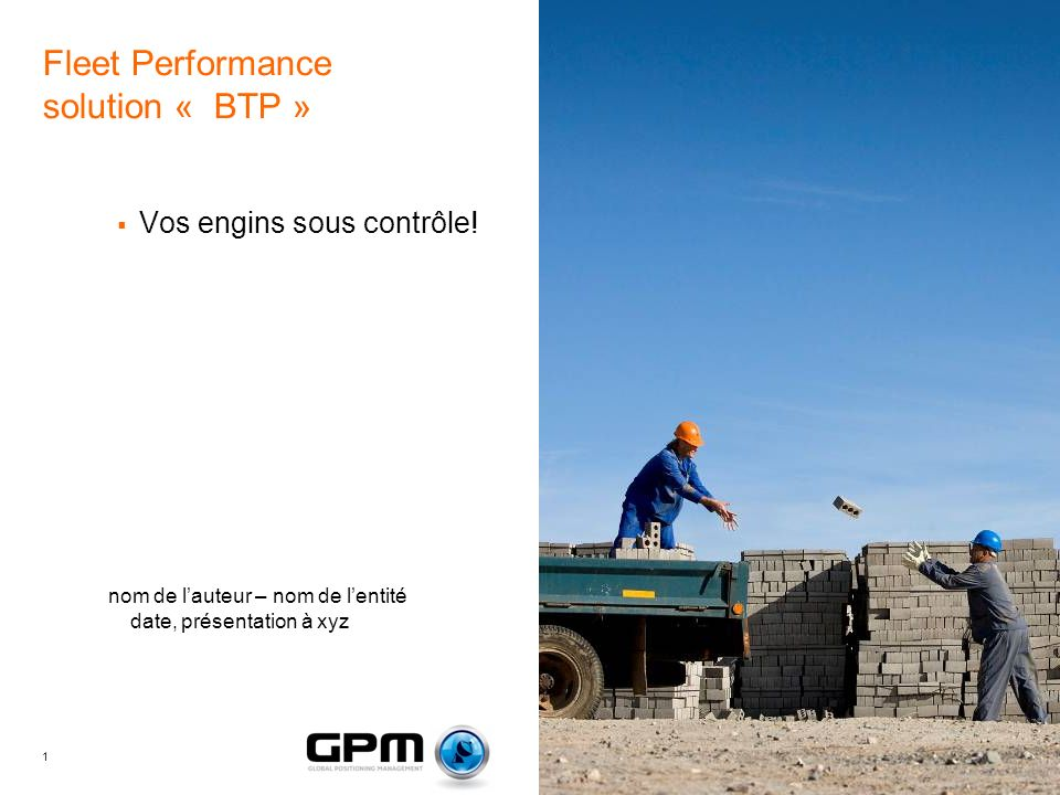 Fleet Performance solution « BTP »