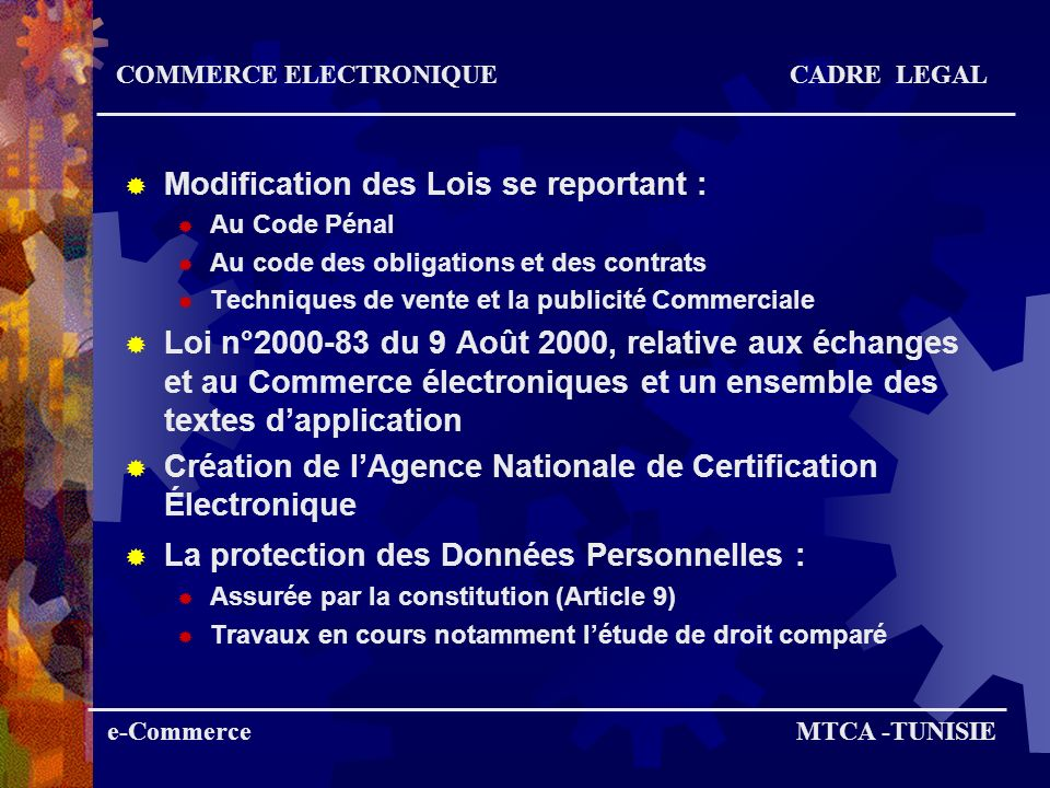 Modification des Lois se reportant :
