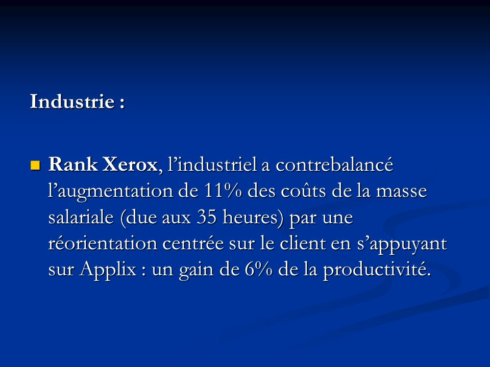 Industrie :