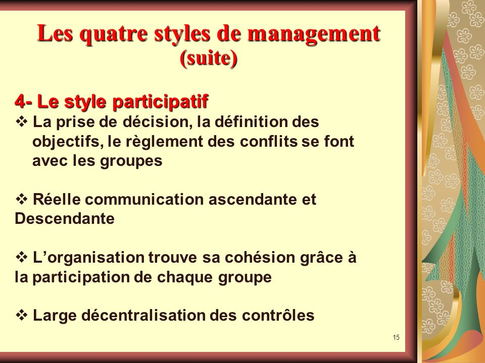 Les quatre styles de management (suite)