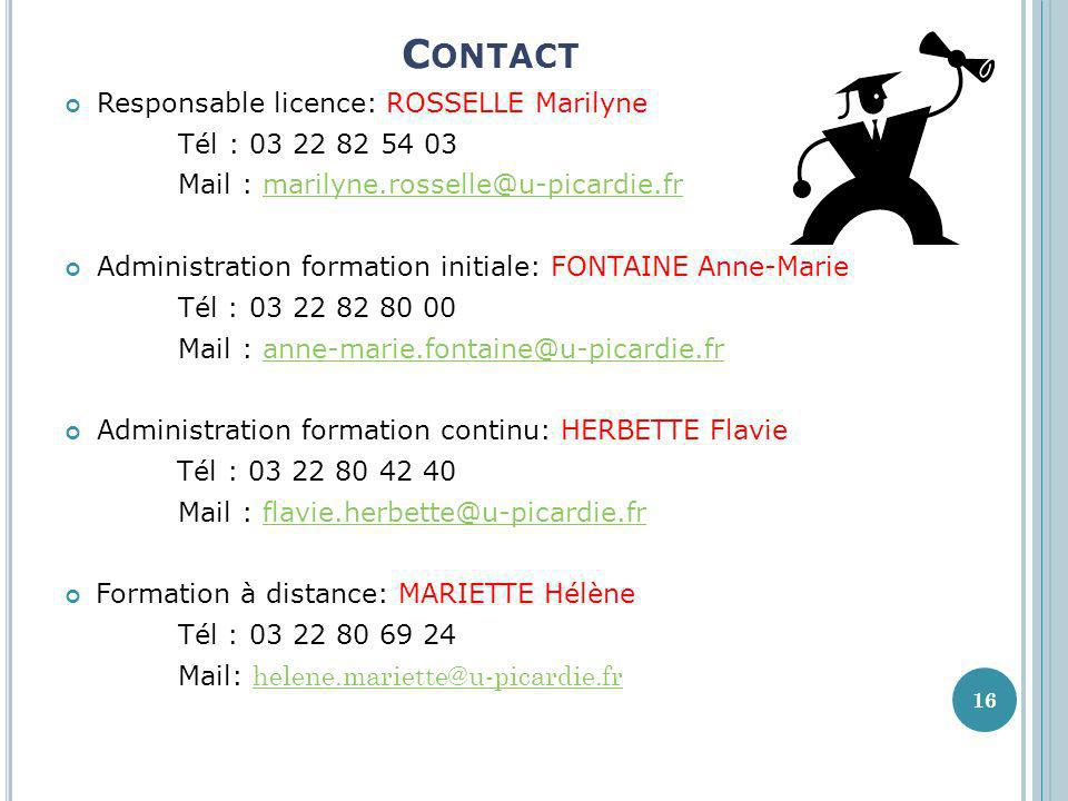 Contact Responsable licence: ROSSELLE Marilyne Tél :