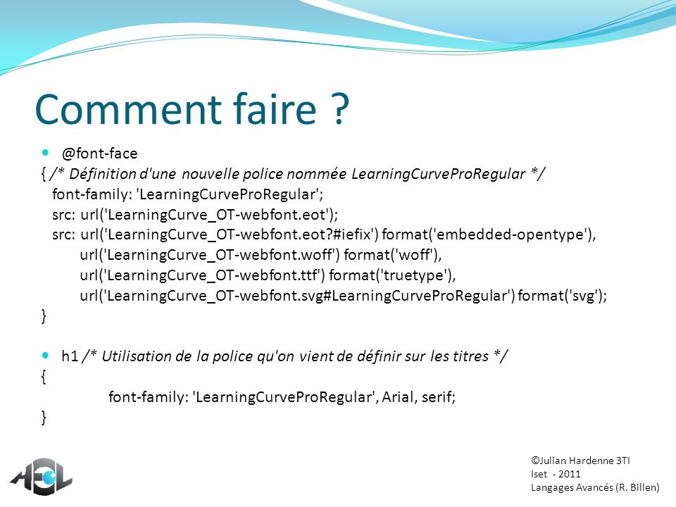 Comment faire @font-face