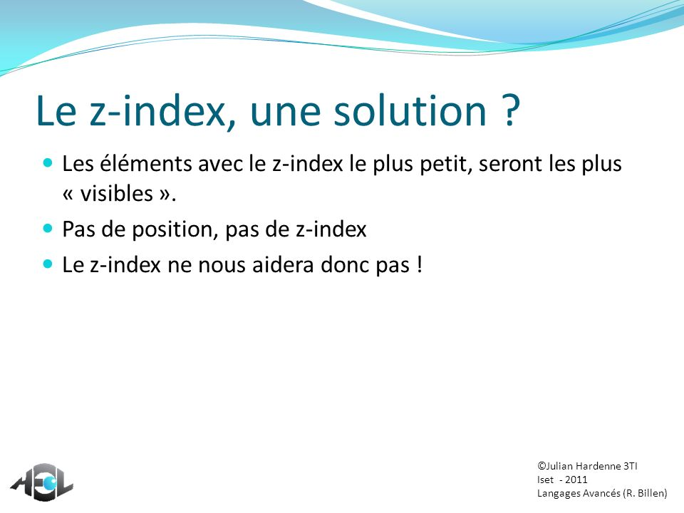 Le z-index, une solution