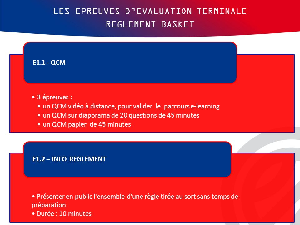 LES EPREUVES D'EVALUATION TERMINALE