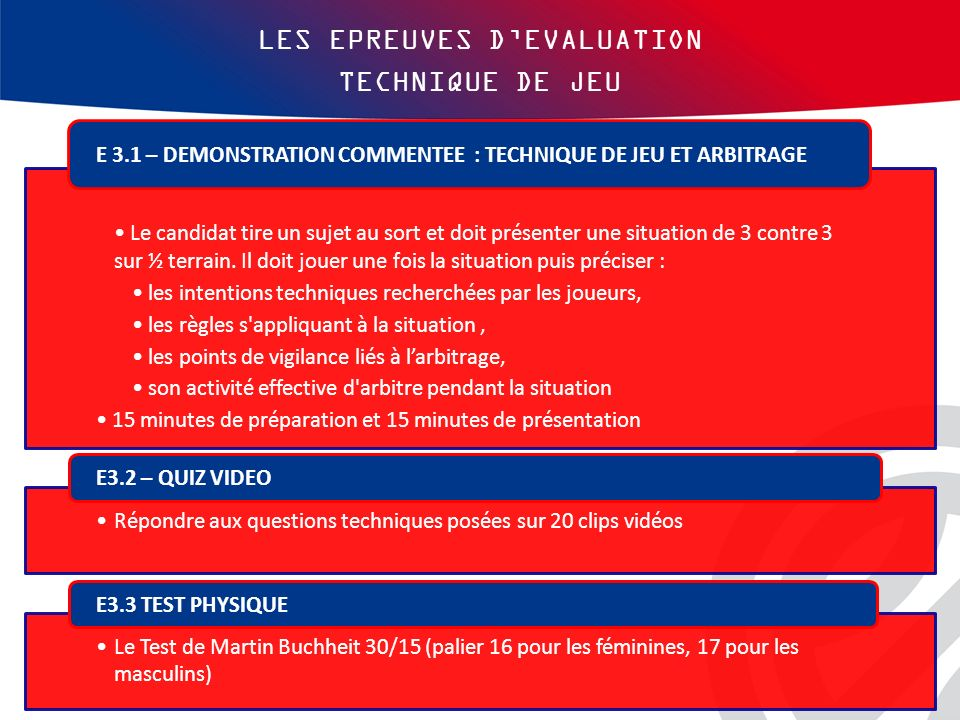 LES EPREUVES D'EVALUATION