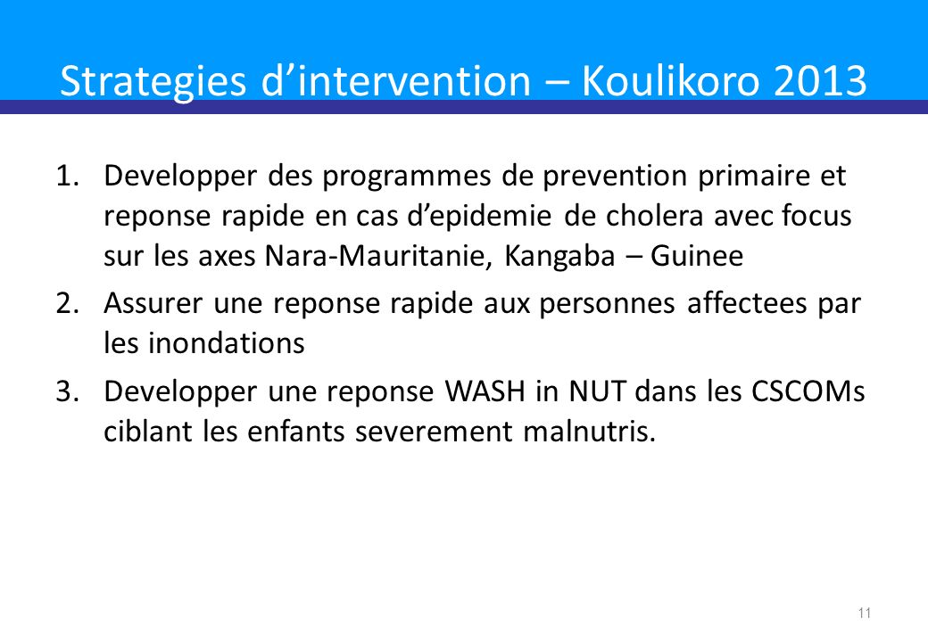 Strategies d'intervention – Koulikoro 2013