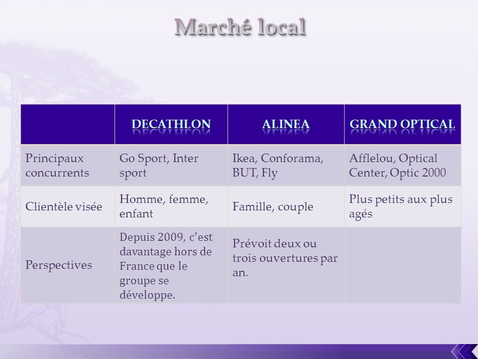 Marché local DECATHLON ALINEA GRAND OPTICAL Principaux concurrents