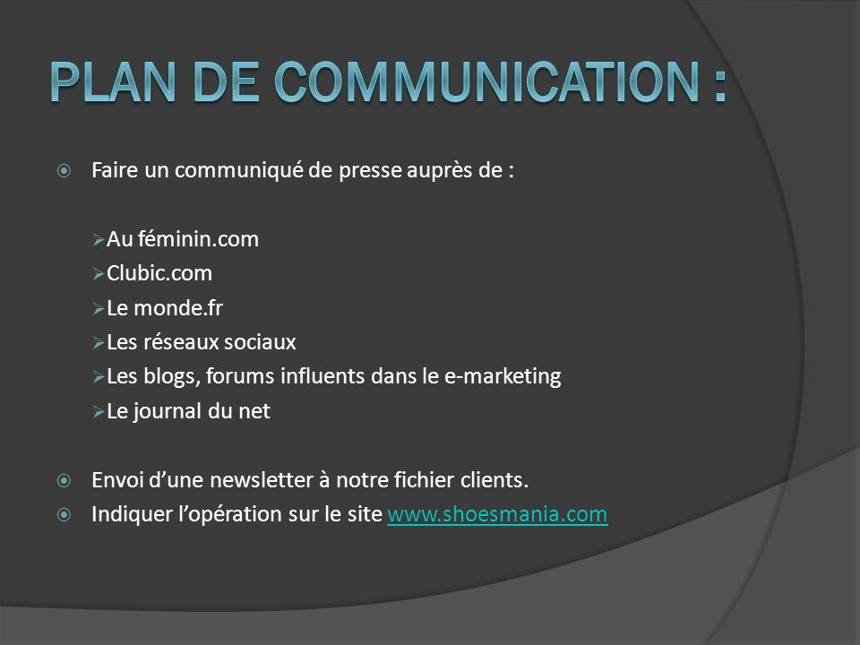 PLAN DE COMMUNICATION :
