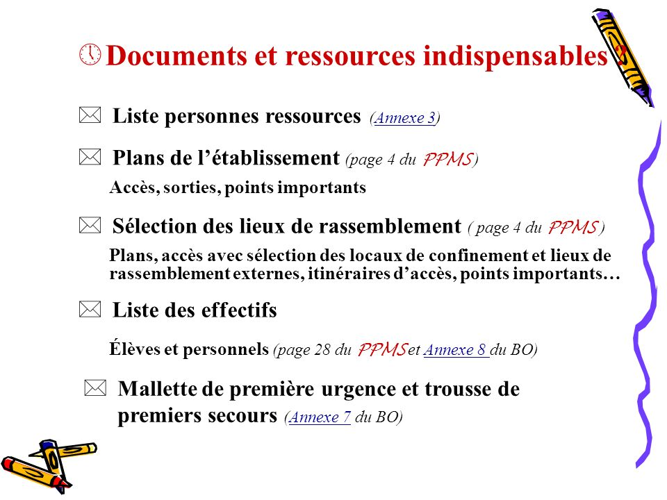 Documents et ressources indispensables