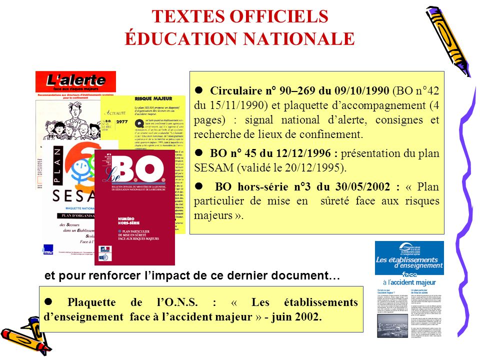 TEXTES OFFICIELS ÉDUCATION NATIONALE