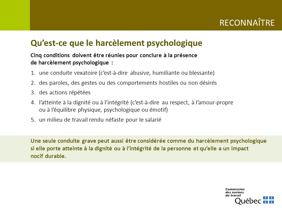 Le Harcelement Psychologique Au Travail Parlons En Ppt Telecharger