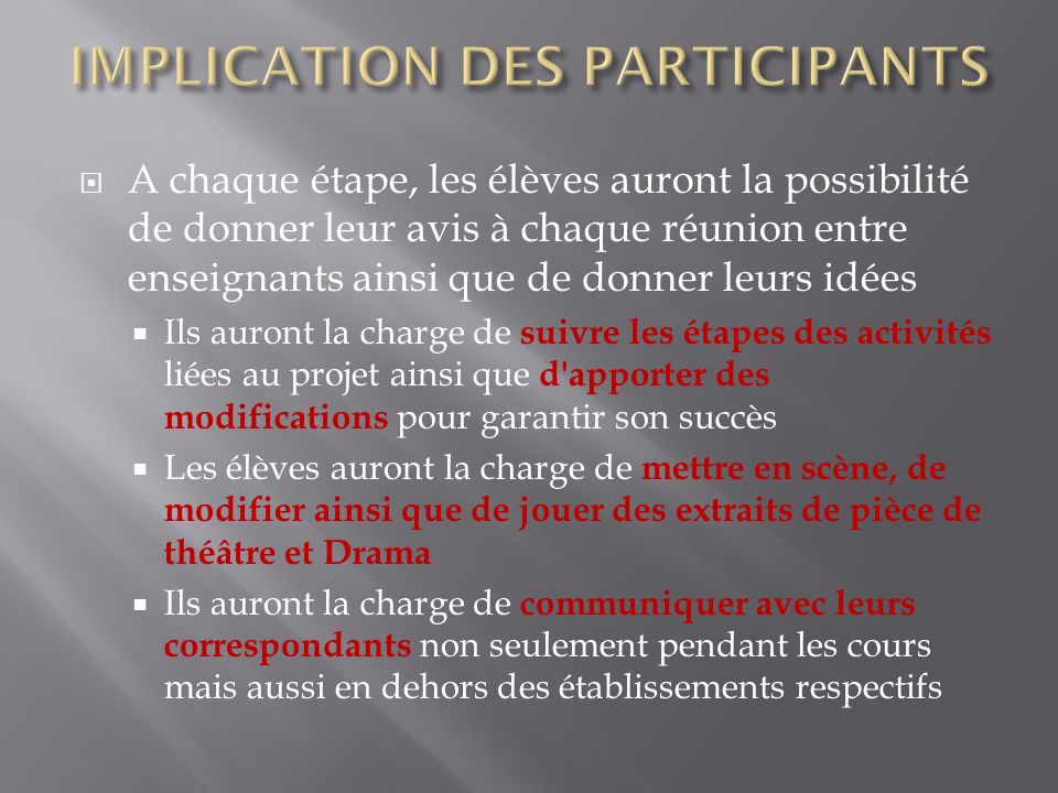 IMPLICATION DES PARTICIPANTS