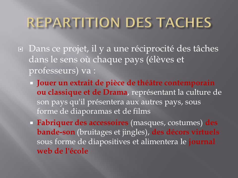 REPARTITION DES TACHES