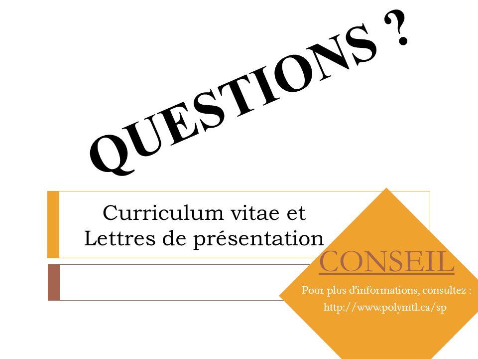 curriculum vitae et lettres de pr u00e9sentation