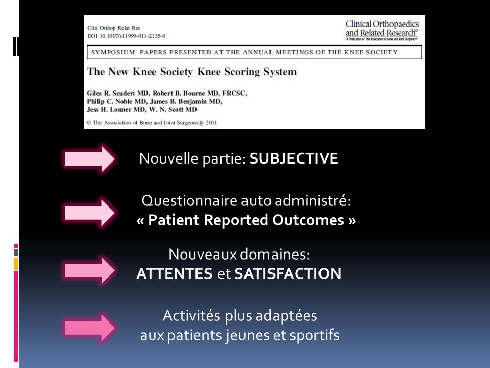 « Patient Reported Outcomes »