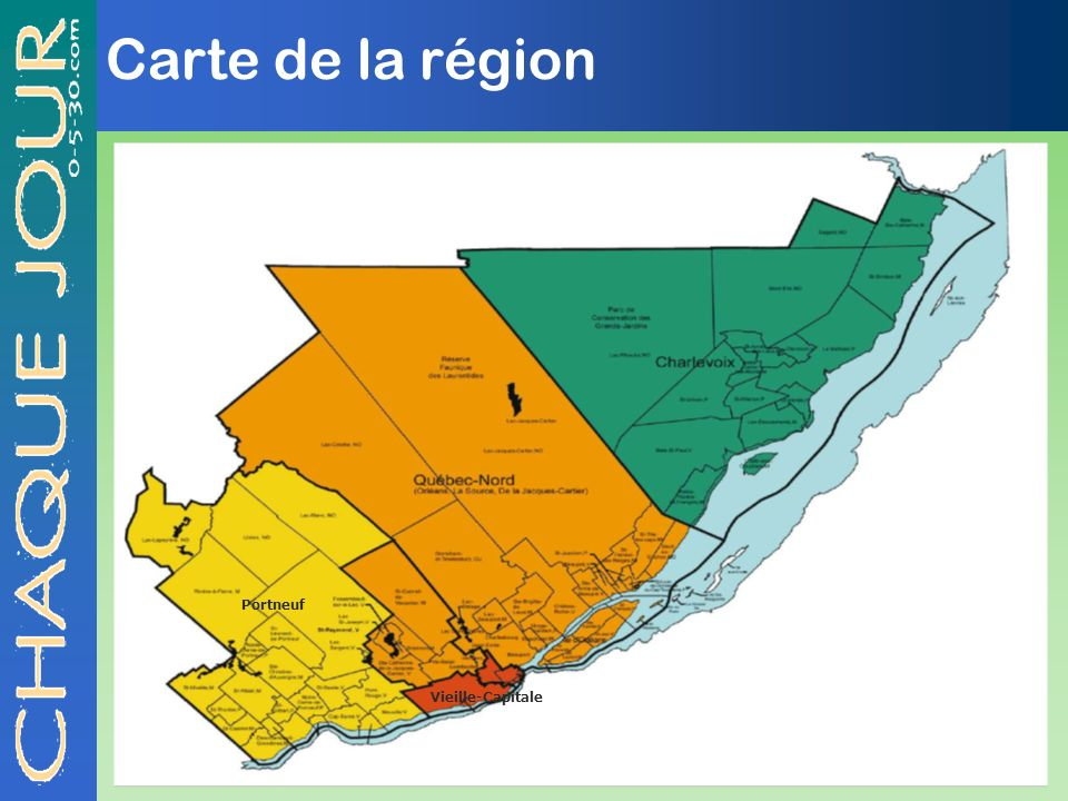 Carte de la région Portneuf Vieille-Capitale