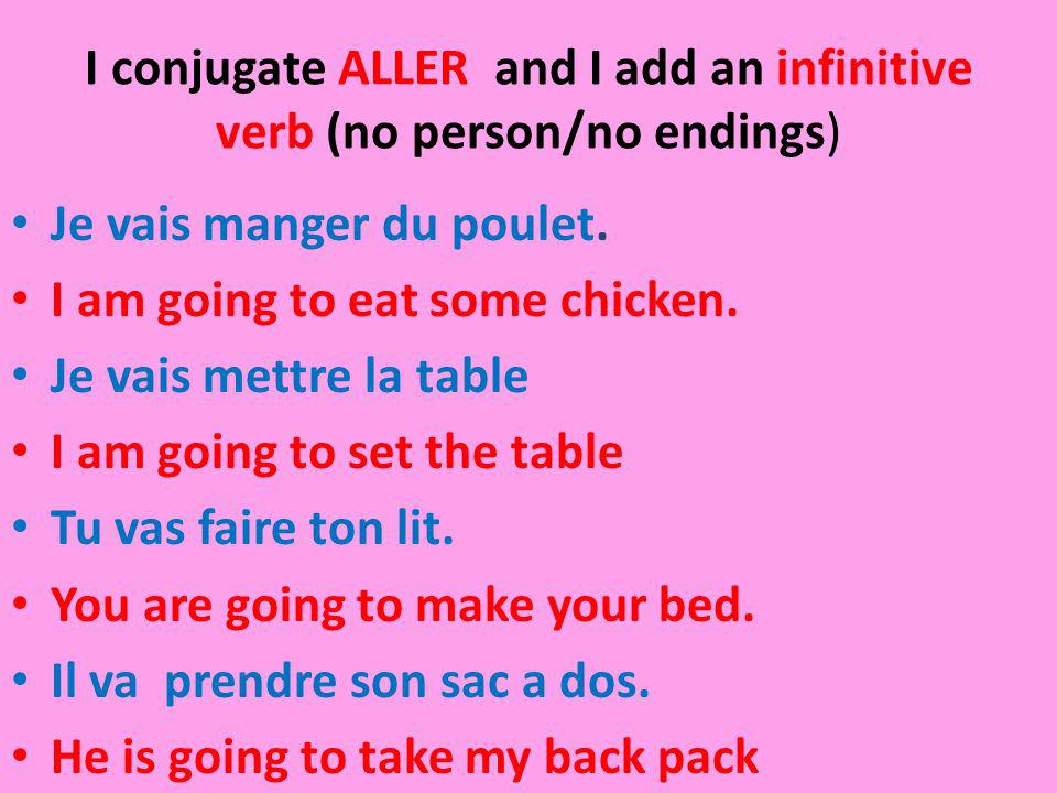 I conjugate ALLER and I add an infinitive verb (no person/no endings)