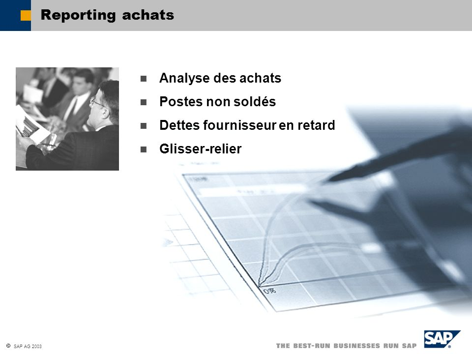 Reporting achats Analyse des achats Postes non soldés