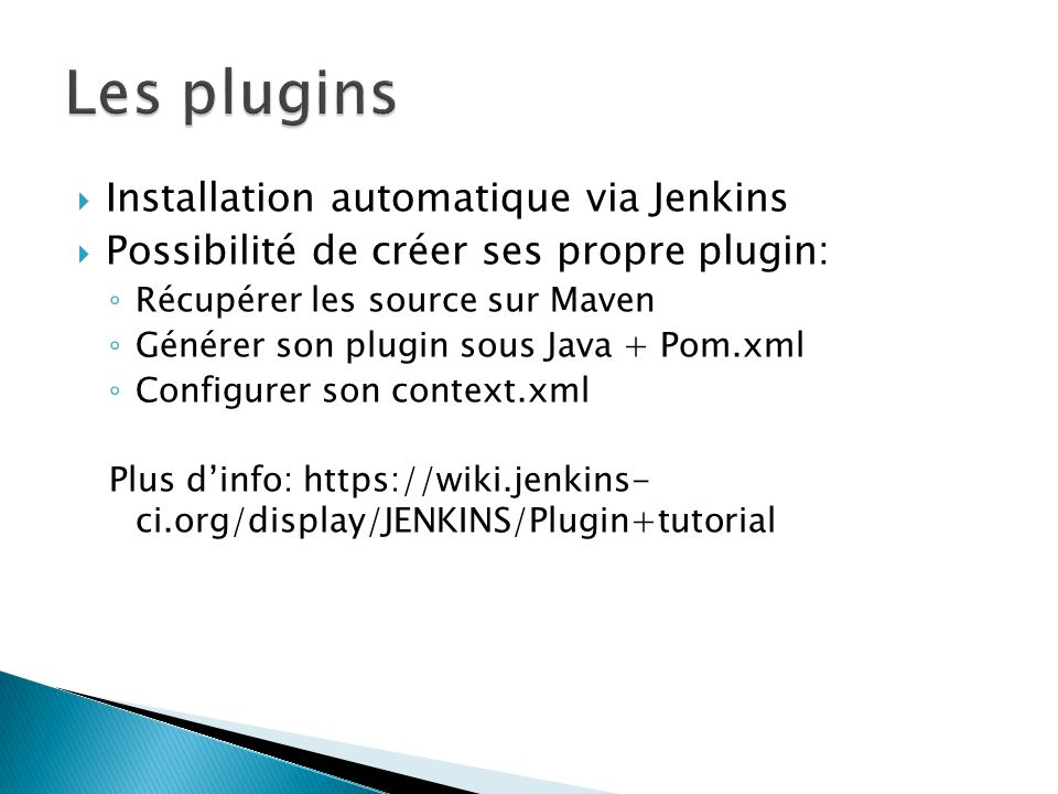 Les plugins Installation automatique via Jenkins