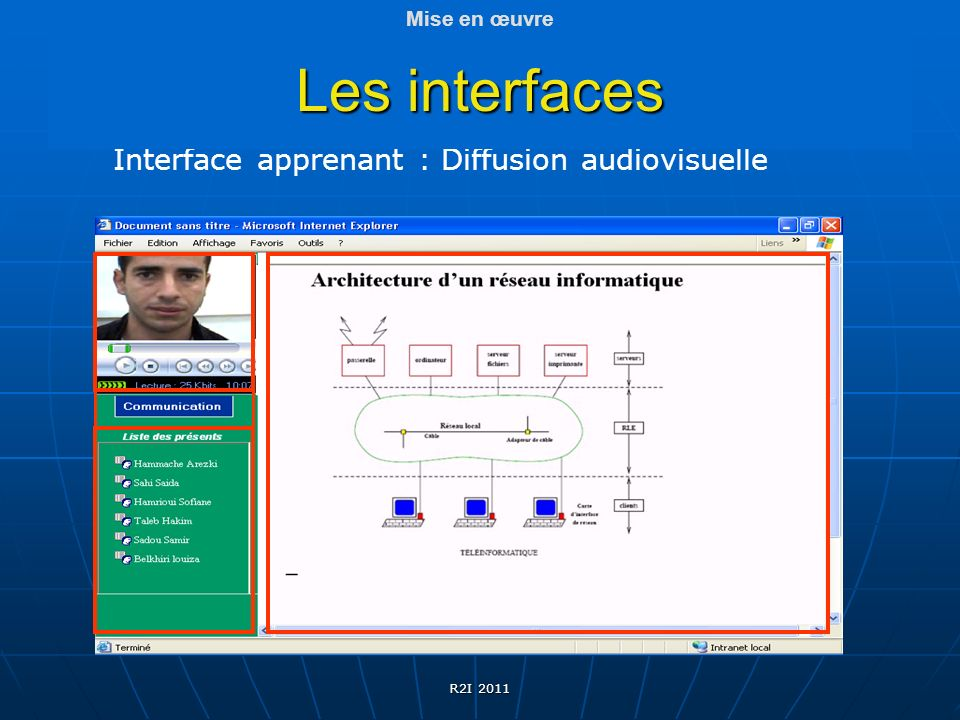 Les interfaces Interface apprenant : Diffusion audiovisuelle