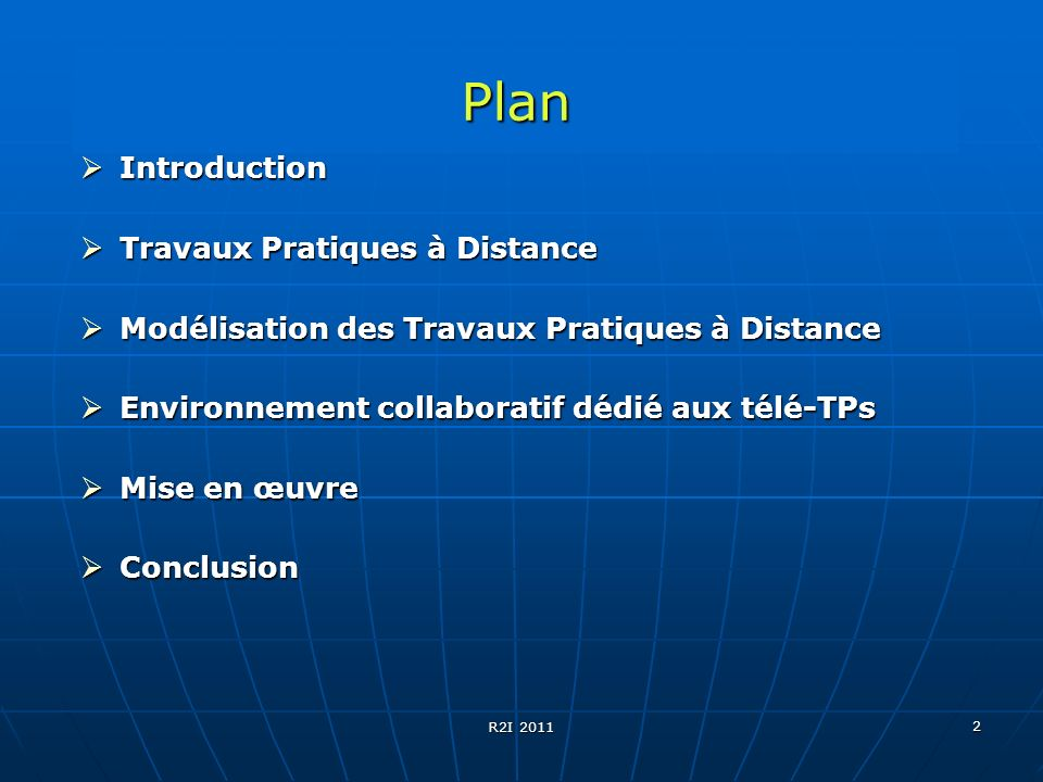 Plan Introduction Travaux Pratiques à Distance