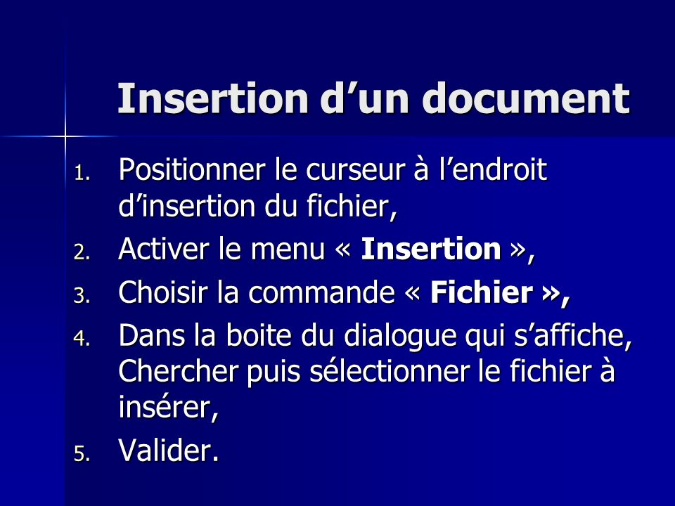 Insertion d'un document