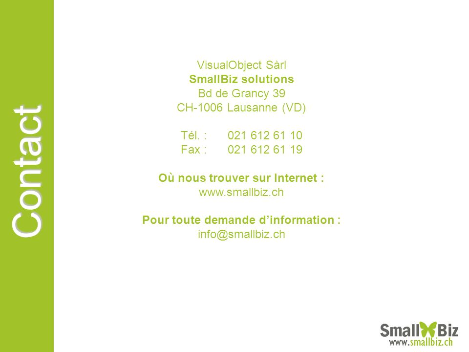 Contact VisualObject Sàrl SmallBiz solutions Bd de Grancy 39