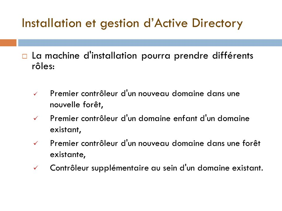 Installation et gestion d'Active Directory
