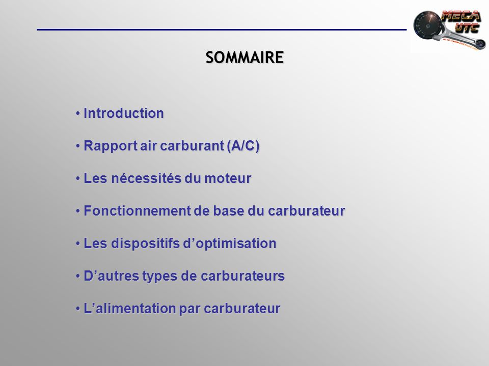 SOMMAIRE Introduction Rapport air carburant (A/C)