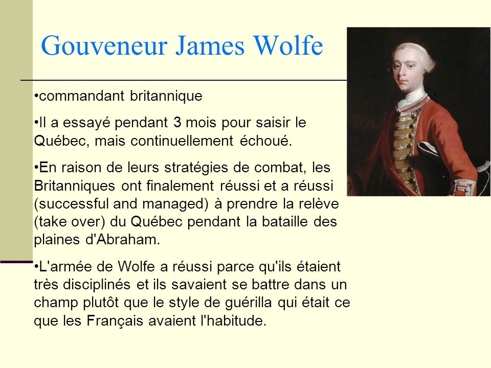 Gouveneur James Wolfe commandant britannique