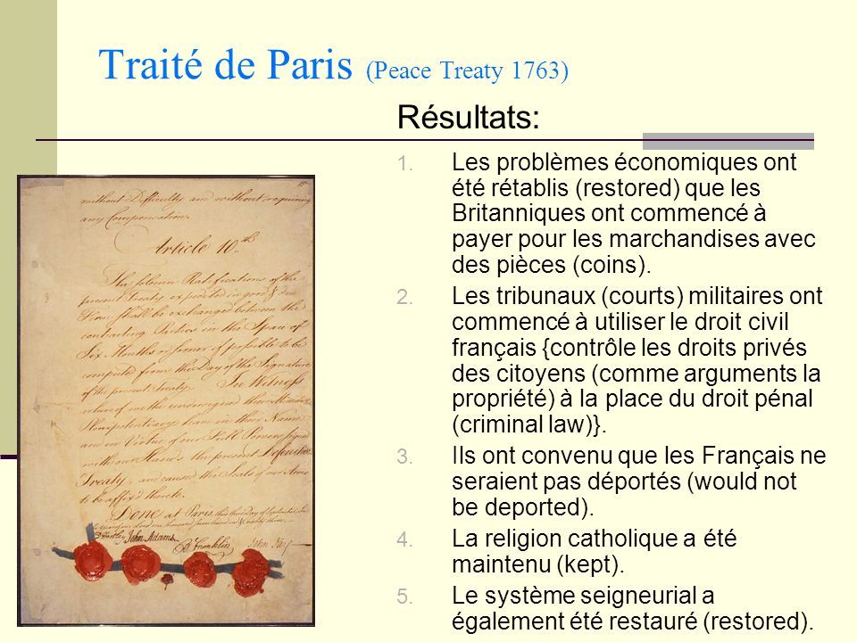 Traité de Paris (Peace Treaty 1763)