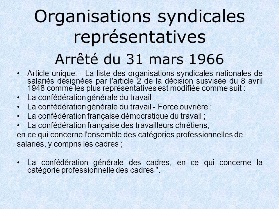 Organisations syndicales représentatives