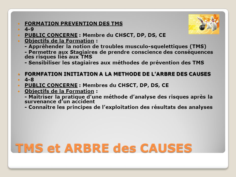 TMS et ARBRE des CAUSES FORMATION PREVENTION DES TMS 4-9