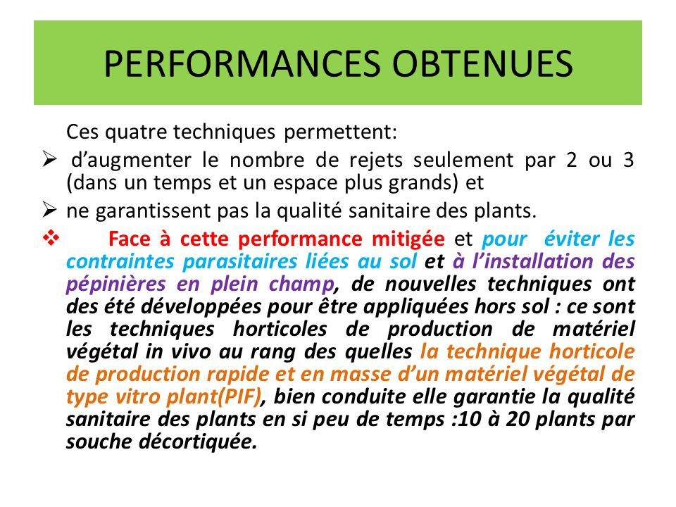 PERFORMANCES OBTENUES