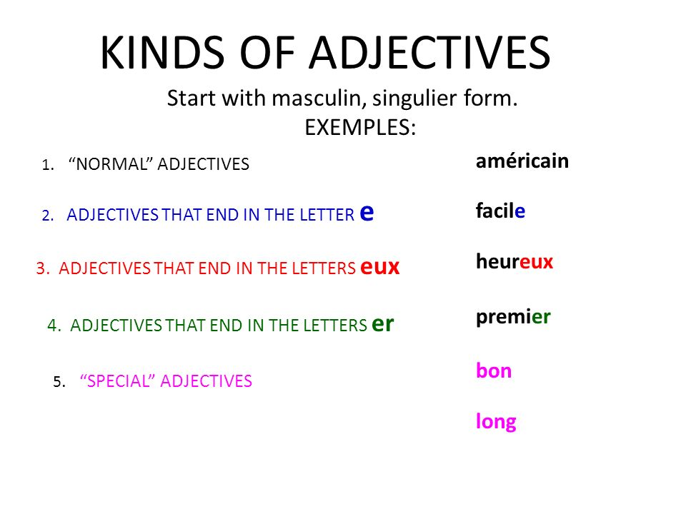 KINDS OF ADJECTIVES Start with masculin, singulier form. EXEMPLES: