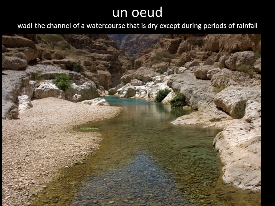 un oeud wadi-the channel of a watercourse that is dry except during periods of rainfall periods of rainfall),