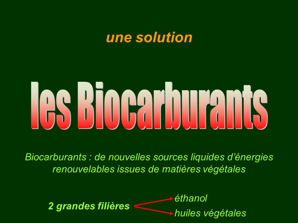 les Biocarburants une solution