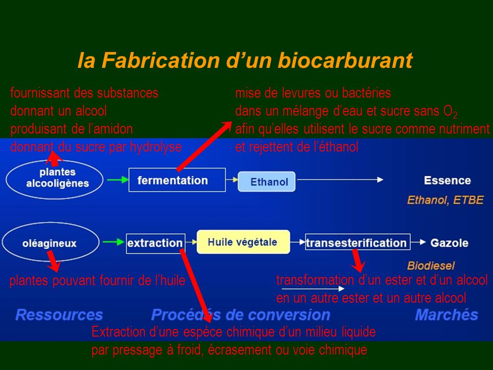 la Fabrication d'un biocarburant