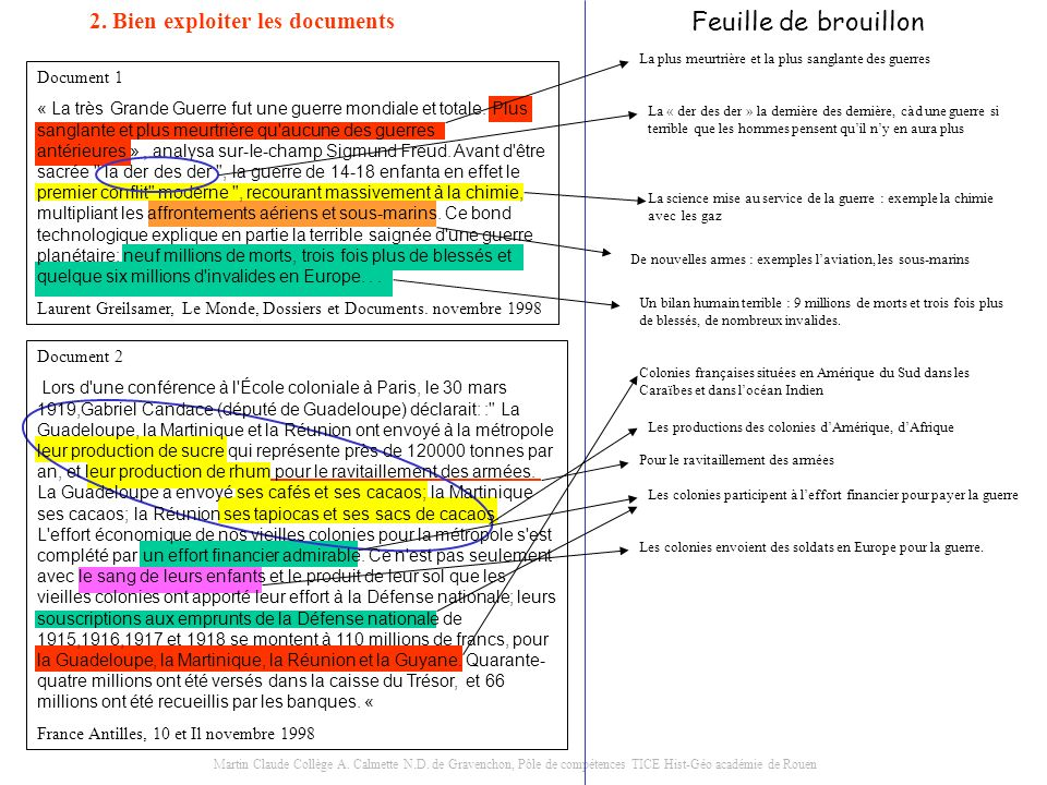 Feuille de brouillon 2. Bien exploiter les documents Document 1