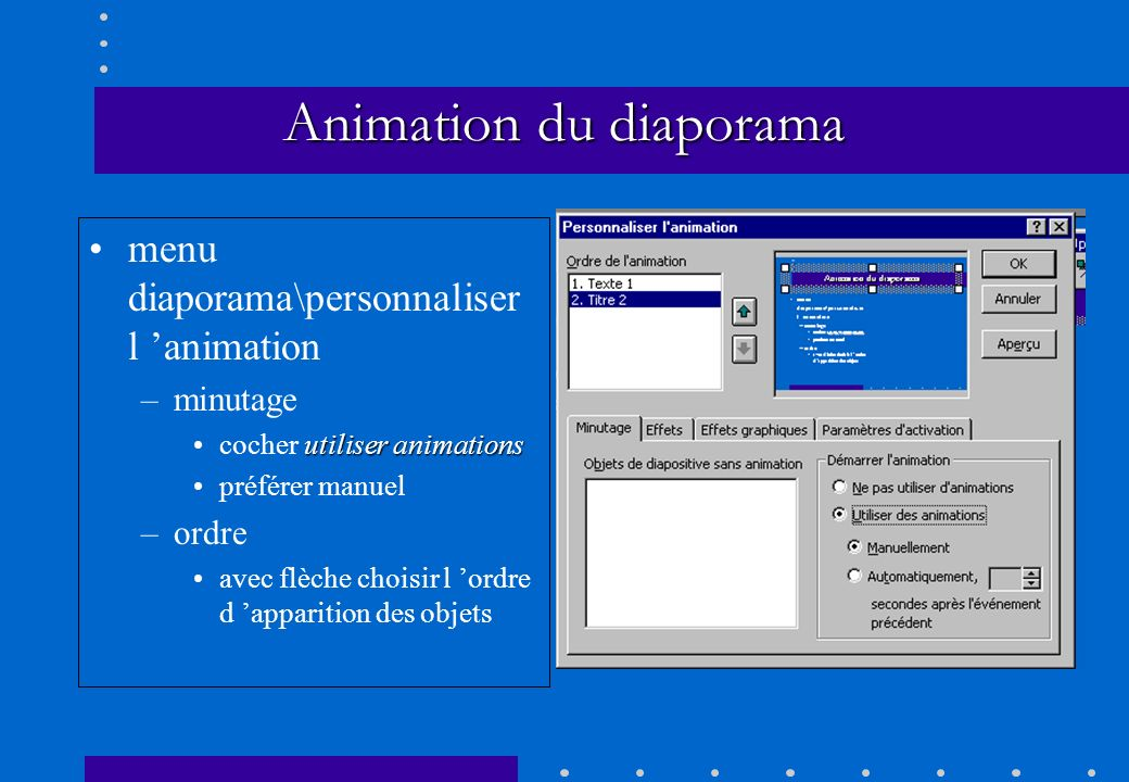 Animation du diaporama