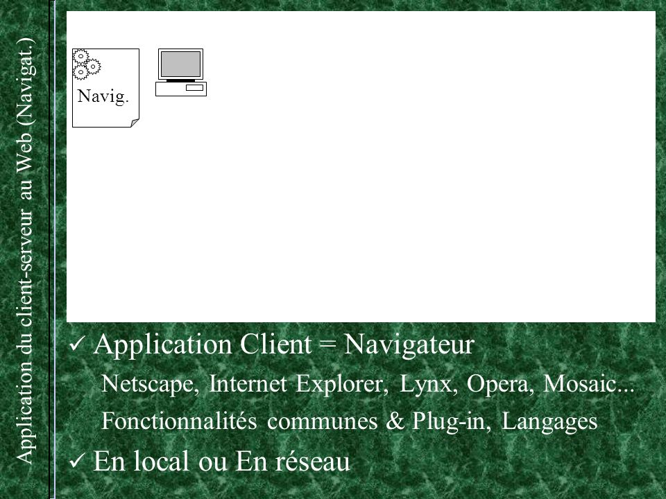 Application du client-serveur au Web (Navigat.)