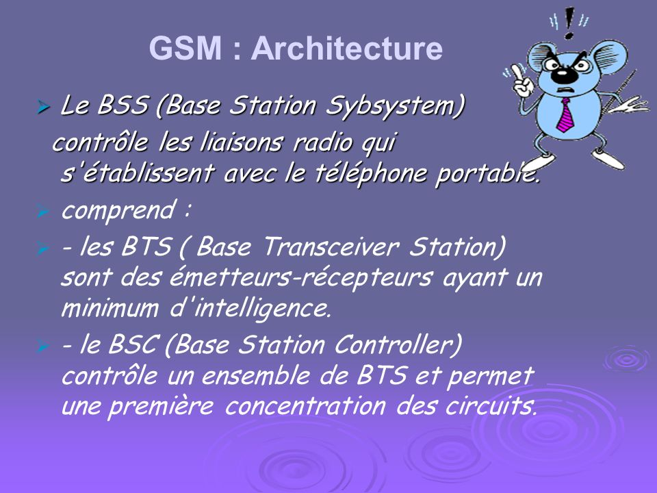 GSM : Architecture Le BSS (Base Station Sybsystem)