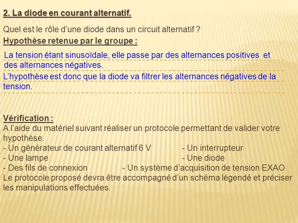 2. La diode en courant alternatif.