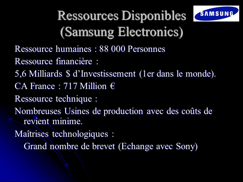 Ressources Disponibles (Samsung Electronics)