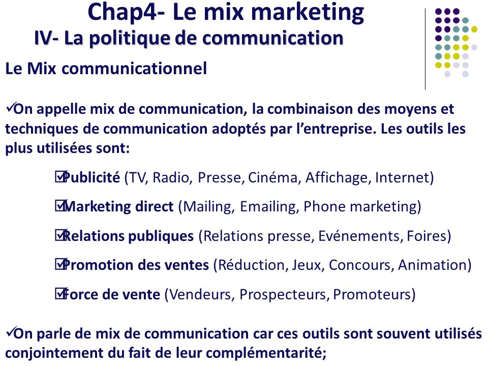 Chap4- Le mix marketing IV- La politique de communication