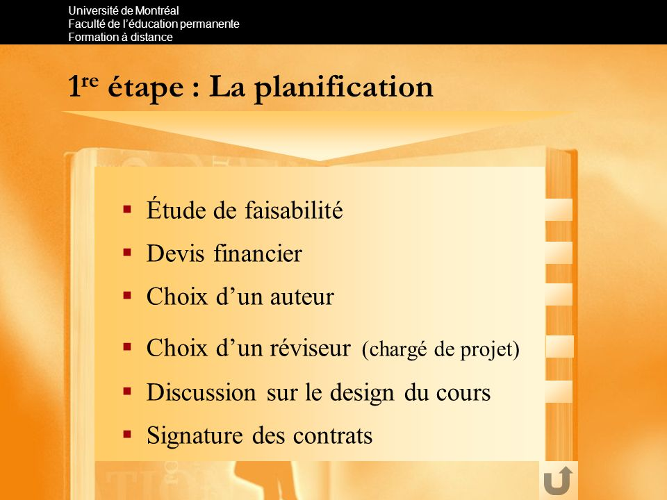 1re étape : La planification